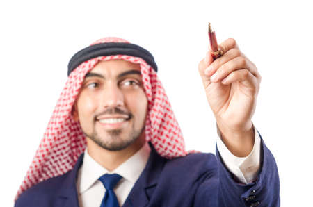 Arab man pressing virtual buttons Stock Photo - 18636620
