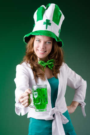 Young girl in saint patrick celebration concept Stock Photo - 18636720