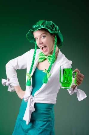 Young girl in saint patrick celebration concept Stock Photo - 18662750