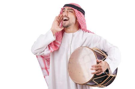 arab man: Arab man playing drum isolated on white
