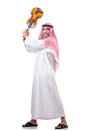 Arab man playing violin isolated on white Stock Photo - 18636440