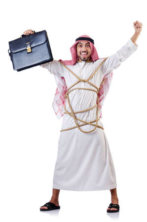 Arab man tied up with rope on white Stock Photo - 18636517