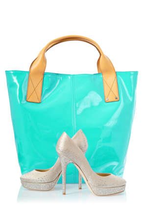 Elegant bag and shoes on white Stock Photo - 18199727