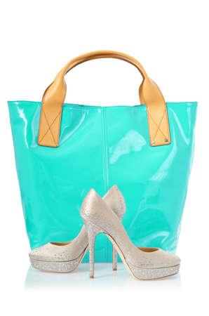 Elegant bag and shoes on white Stock Photo - 18199727