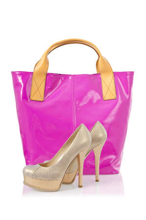 Elegant bag and shoes on white Stock Photo - 18199537