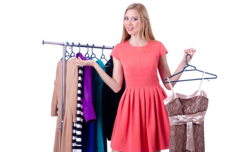 Woman trying new clothing on white photo