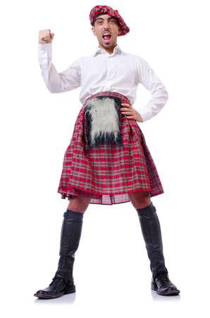 highlander: Tradiciones concepto escocés con falda escocesa persona que lleva
