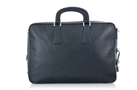 black briefcase: Black briefcase isolated on the white