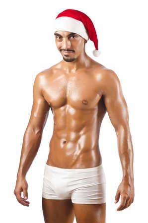 sexy santa: shirtless  Santa isolated on white Stock Photo