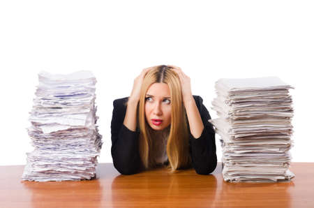 stack of documents: Woman with pile of papers Stock Photo