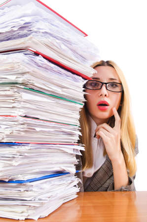 Busy woman with stacks of paper photo