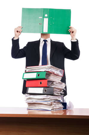 Young busy businessman at his desk Stock Photo - 18175369