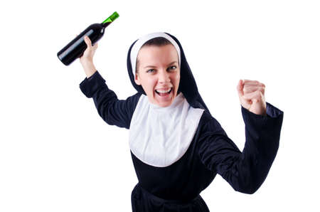 Nun with bottle of red wine Stock Photo - 18636473