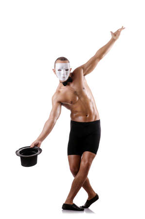 muscular mime isolated on white Stock Photo - 18636356