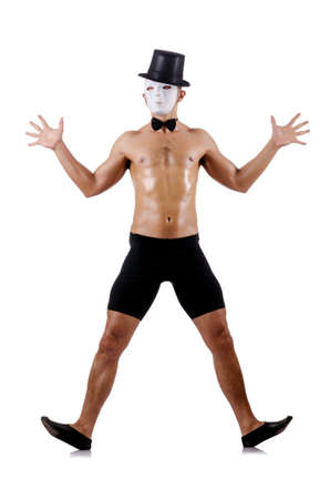 shirtless muscular mime isolated on white Stock Photo - 18636379