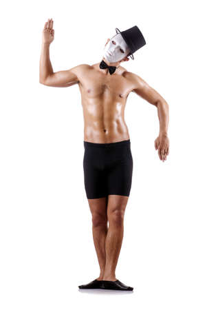 shirtless  muscular mime isolated on white Stock Photo - 18636407
