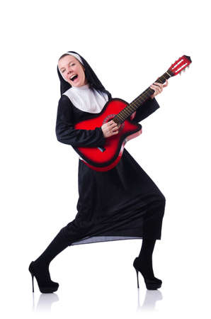 Nun playing guitar isolated on white Stock Photo - 18636374