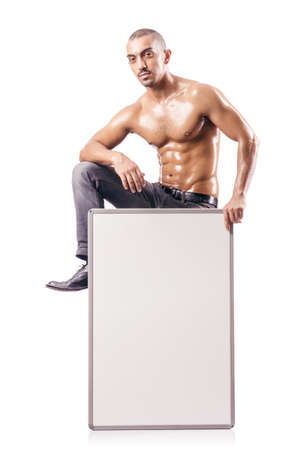 shirtless  man with blank board Stock Photo - 18636513