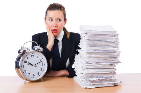 Woman businesswoman with giant alarm clock Stock Photo - 18636615