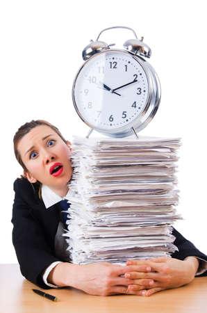 Woman businesswoman with giant alarm clock Stock Photo - 18636656