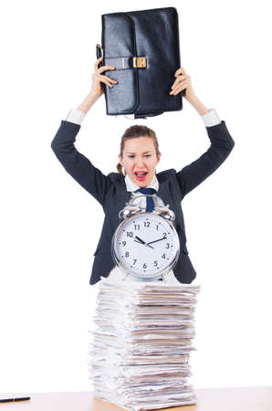 Woman businesswoman with giant alarm clock Stock Photo - 18636607