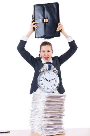 Woman businesswoman with giant alarm clock Stock Photo - 18636607