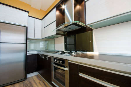 stainless steel kitchen: Interior of modern kitchen Stock Photo