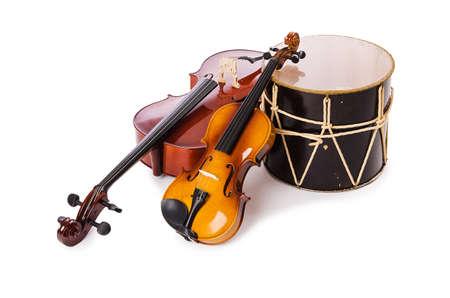 instruments de musique: Un groupe d'instruments isolé sur blanc Banque d'images