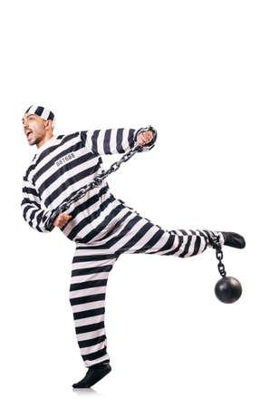 Convict criminal in striped uniform Stock Photo - 18636413