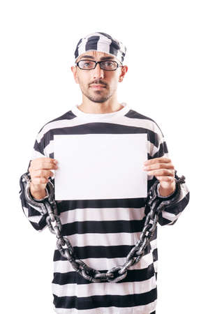 Convict criminal in striped uniform Stock Photo - 18636614