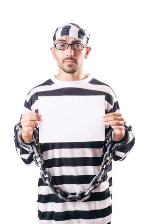 prison ball: Convict criminal in striped uniform Stock Photo