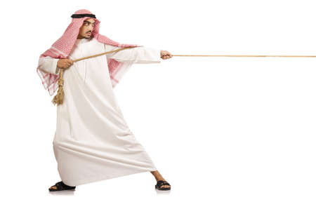 tug: Arab man in tug of war concept Stock Photo