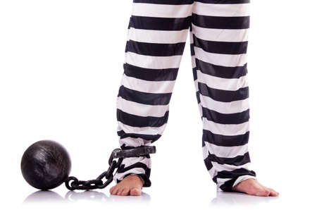 Convict criminal in striped uniform Stock Photo - 18176370