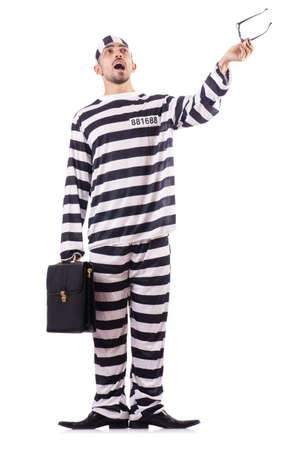 Convict criminal in striped uniform Stock Photo - 18654902