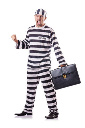 Convict criminal in striped uniform Stock Photo - 18654914