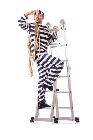 Convict criminal in striped uniform Stock Photo - 18654901
