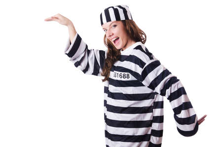 Convict criminal in striped uniform Stock Photo - 18636524