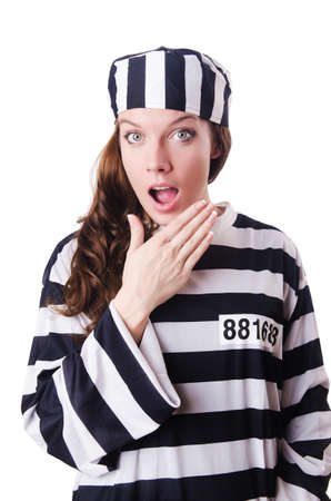 Convict criminal in striped uniform Stock Photo - 18636718