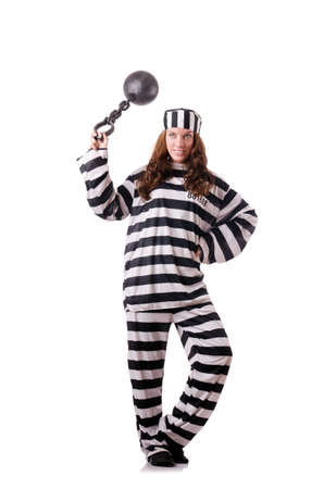 Prisoner in striped uniform on white Stock Photo - 18636408