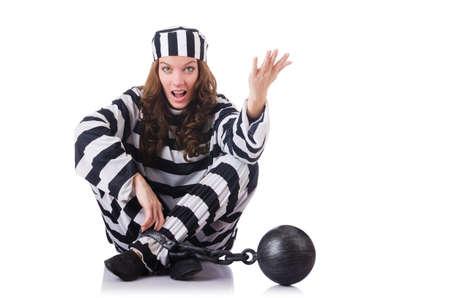 jailbird: Prisoner in striped uniform on white Stock Photo