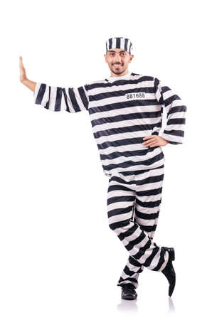 Convict criminal in striped uniform Stock Photo - 18636442