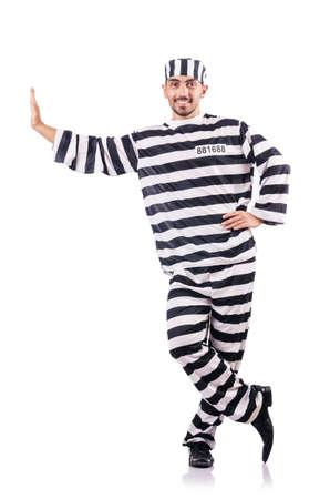Convict criminal in striped uniform Stock Photo - 18636442