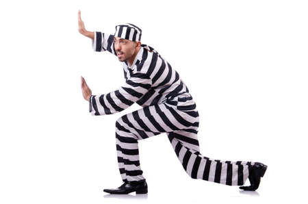 Convict criminal in striped uniform Stock Photo - 18636373