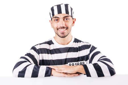 Convict criminal in striped uniform Stock Photo - 18659853