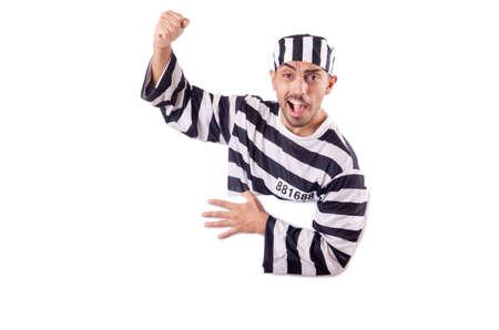 Convict criminal in striped uniform Stock Photo - 18636375