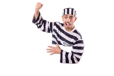 Convict criminal in striped uniform Stock Photo - 18636375