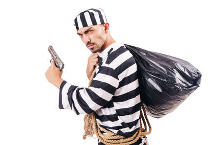 Convict criminal in striped uniform Stock Photo - 18636619