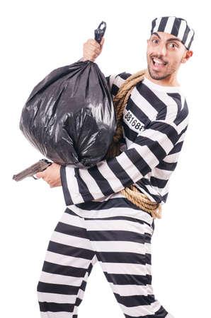 Convict criminal in striped uniform Stock Photo - 18636669