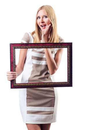 picture person: Woman with picture frame on white Stock Photo