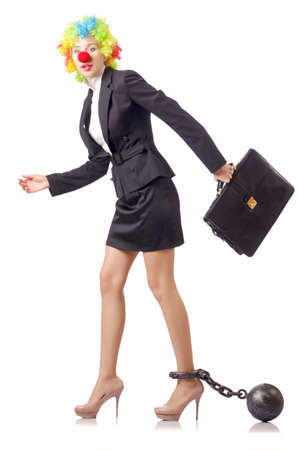 Woman clown in business suit Stock Photo - 18659850